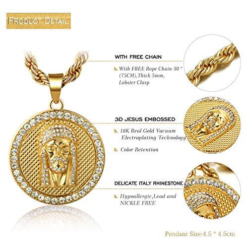 Halukakah jesus medallion mens 18k real gold plated pendant halukakah jesus medallion mens 18k real gold plated pendant necklace with free rope chain 30 aloadofball Image collections