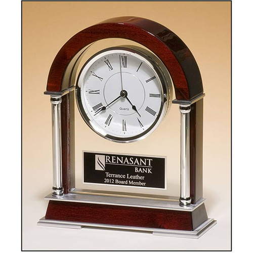 Rosewood Mantle clock with Chrome-Plated Posts