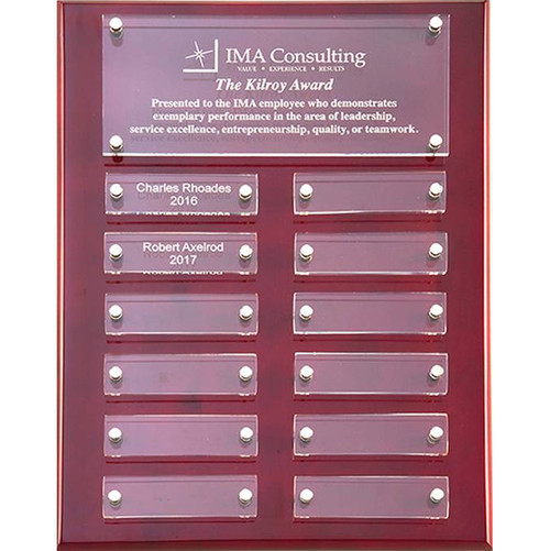 Rosewood high gloss perpetual plaque with acrylic plates
