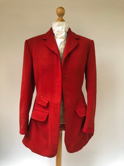"Vintage Moss Bros 3-button red hunting frock coat, 39/40"" Long (VTR577)"
