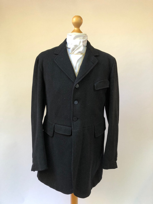 "Vintage black hunt coat by Ezra Johnson - 38"" (VTR583)"