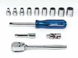 """5/32 - 9/16"""" Williams 1/4"""" Dr Shallow Socket & Tool Set 6 Pt & 12 Pt 13 Pcs & Tool Box - WSM-13FTB"""