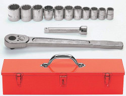 "7/8 - 1 5/8"" Williams 3/4"" Dr Socket Tool Set 12 Pt 13 Pcs & Tool Box - WSH-13TB"