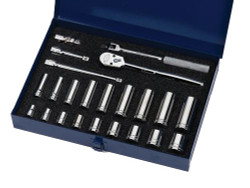 "3/8 - 7/8"" Williams 3/8"" Dr Shallow & Deep Socket & Tool Set 12 Pt 23 Pcs - WSB-23F"