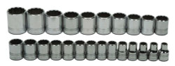 "10 - 36MM Williams 1/2"" Dr Shallow Socket Set 12 Pt 24 Pcs - MSS-24RC"