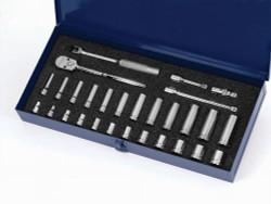 """SAE & MM Williams 3/8"""" Dr Socket & Tool Set 6 Pt &12 Pt 29 Pcs & Tool Box - MSB-29HFTB"""