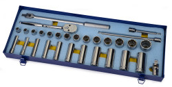 "3/8 - 1 1/4"" Shallow & 1/2 - 1 1/8"" Deep Williams 1/2"" Dr Socket & Tool Set 12 Pt 30 Pcs & Tool Box - WSS-30FTB"