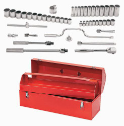 "10 - 36MM Shallow & 13 - 30MM Deep Williams 1/2"" Dr Socket & Tool Set 12 Pt 47 Pcs & Tool Box - MSS-47TB"