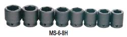 "19 - 41MM Williams 3/4"" Dr Shallow Impact Socket Set 6 Pt 8 Pcs & Clip Rail- MS-6-8H"