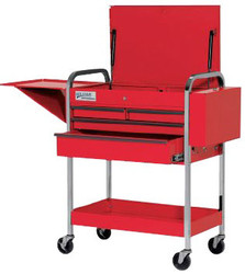 """41"""" Williams Service Cart with Lid - 4 Drawer - Red 50724"""