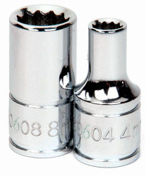"4MM Williams 1/4"" Dr Chrome Shallow Socket 12 Pt - 30604A"
