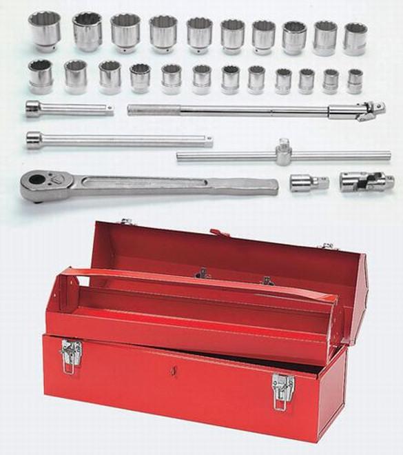 "7/8 - 2 3/8"" Williams 3/4"" Dr Socket & Tool Set 12 Pt  29 Pcs & Tool Box - WSH-29TB"