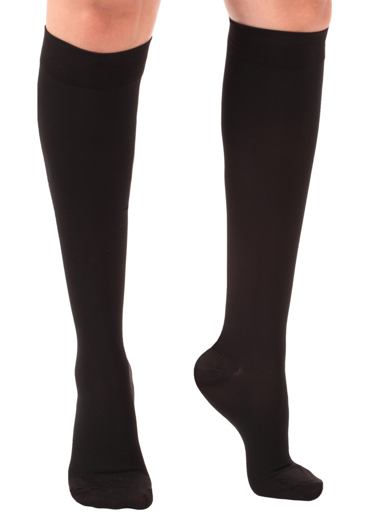 A201BL, Firm Support (20-30mmHg) Black Knee High Compression Socks, Front View