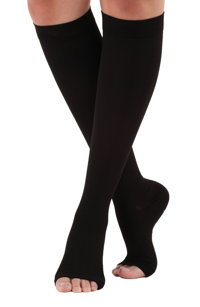 A211BL, Firm Support (20-30mmHg) Black Knee High Compression Socks, Front View