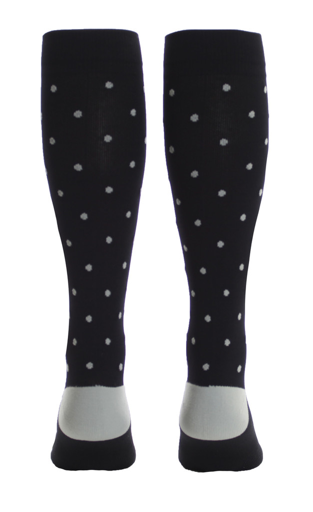 M816BG, Firm Support (20-30mmHg) Black Knee High Compression Socks, Back View