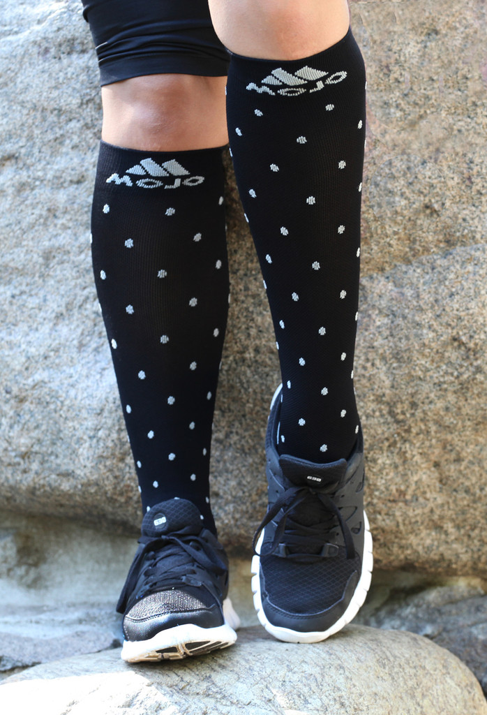 M816BG, Firm Support (20-30mmHg) Black Knee High Compression Socks, Front View