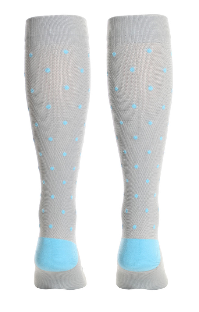 M816GD, Firm Support (20-30mmHg) Grey Blue Dot Knee High Compression Socks, Back View