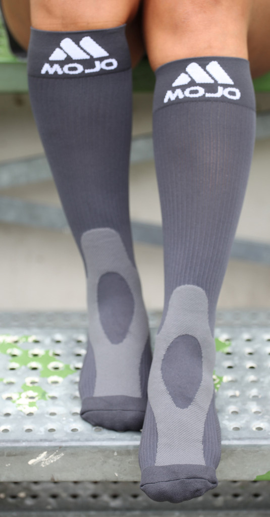A601GR, Firm Support (20-30mmHg) Gray Knee High Compression Socks, Front View