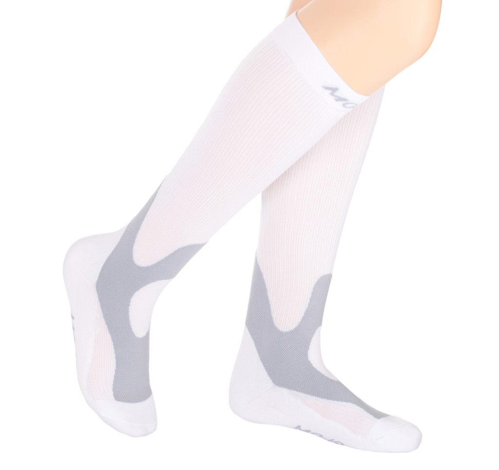 A601WH, Firm Support (20-30mmHg) White Knee High Compression Socks, Side View