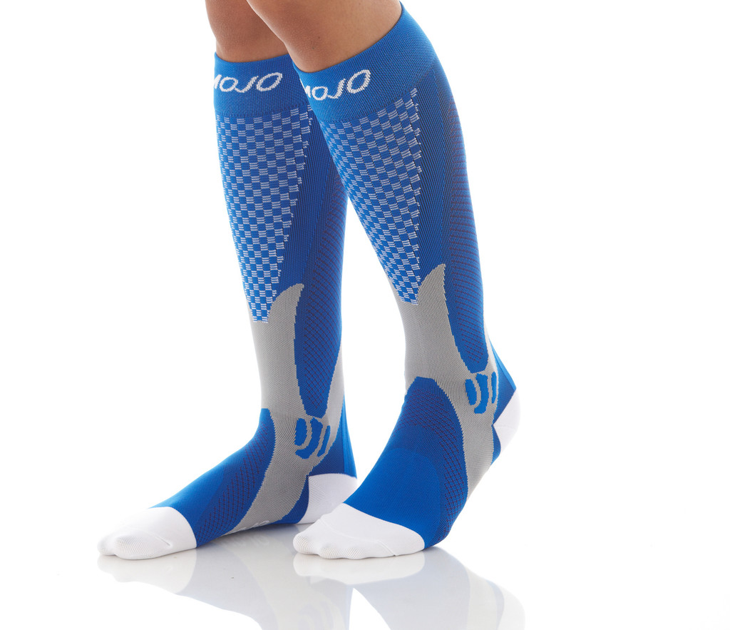 A602BL, Firm Support (20-30mmHg) Blue Knee High Compression Socks, Front View