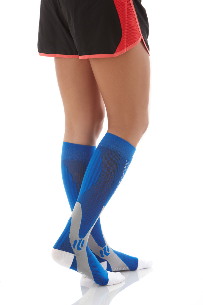 A602BL, Firm Support (20-30mmHg) Blue Knee High Compression Socks, Back View