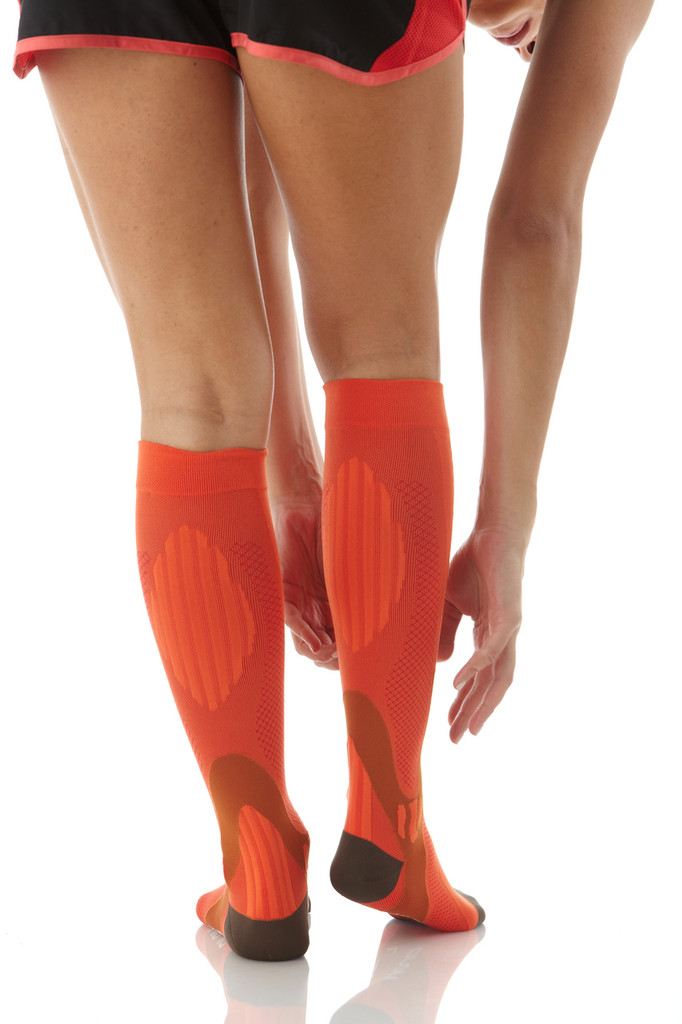 A602OR, Firm Support (20-30mmHg) Orange Knee High Compression Socks, Back View