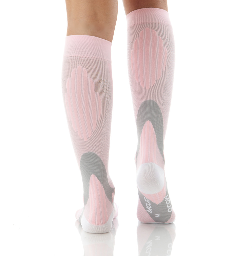 A602PI, Firm Support (20-30mmHg) Pink Knee High Compression Socks, Back View