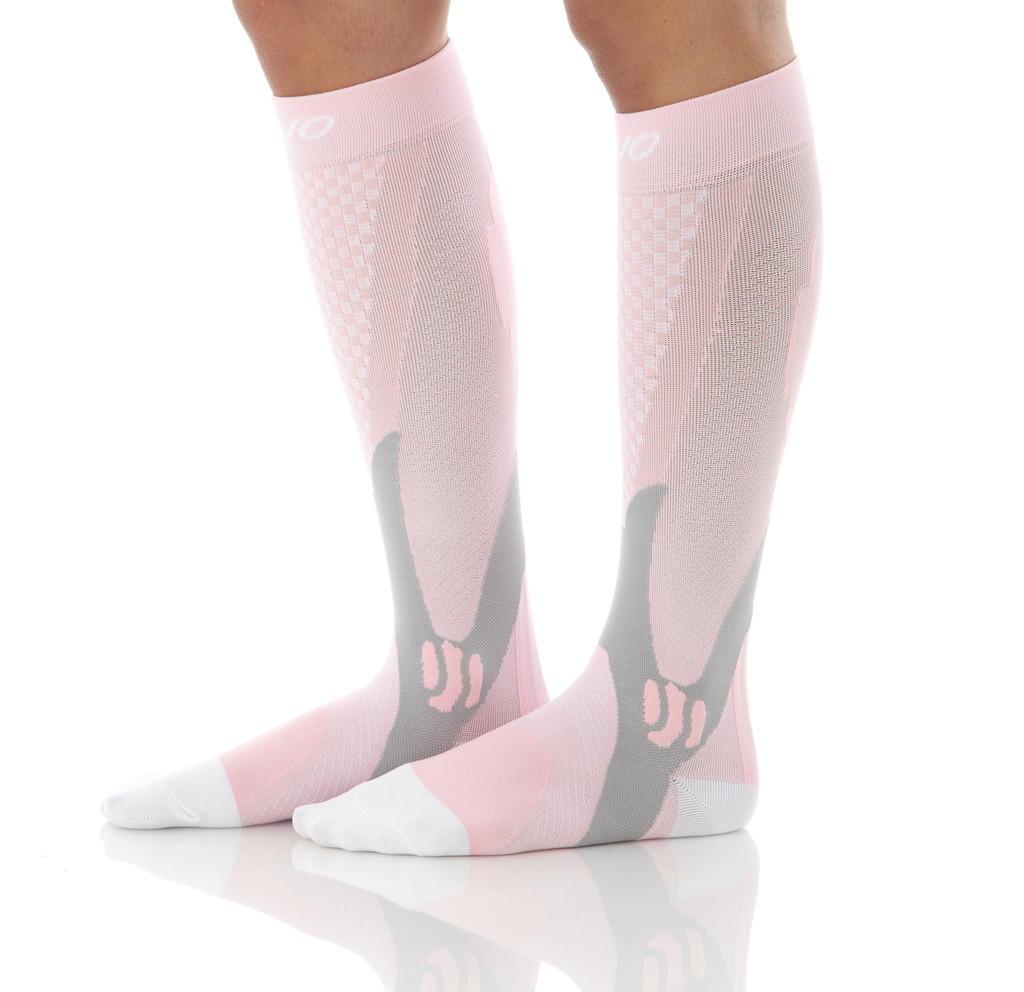 A602PI, Firm Support (20-30mmHg) Pink Knee High Compression Socks, Side View