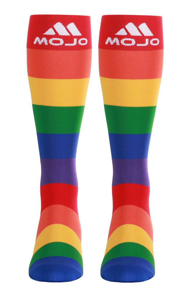 M906PR, Firm Support (20-30mmHg) Pride Knee High Compression Socks, Front View