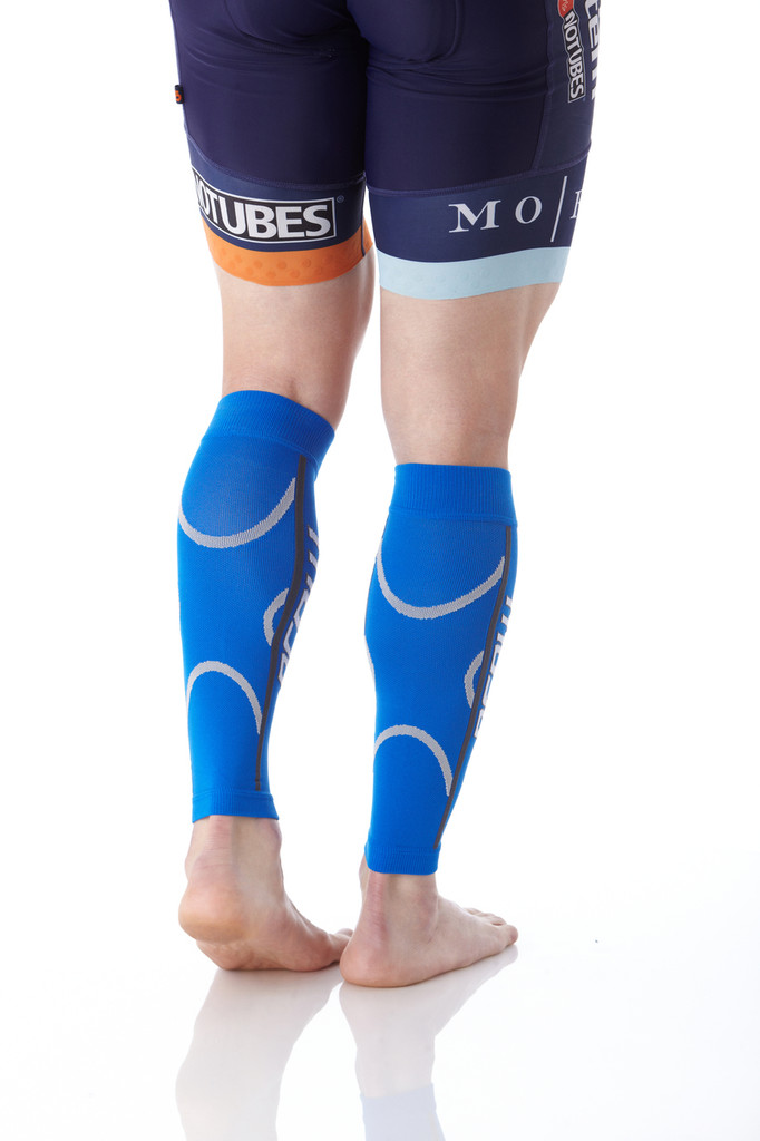A607Blue, Firm Support (20-30mmHg) Blue Knee High Compression Socks, Back View