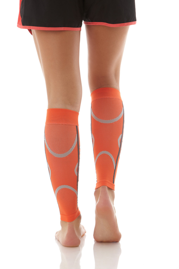 A607OR, Firm Support (20-30mmHg) Orange Knee High Compression Socks, Back View
