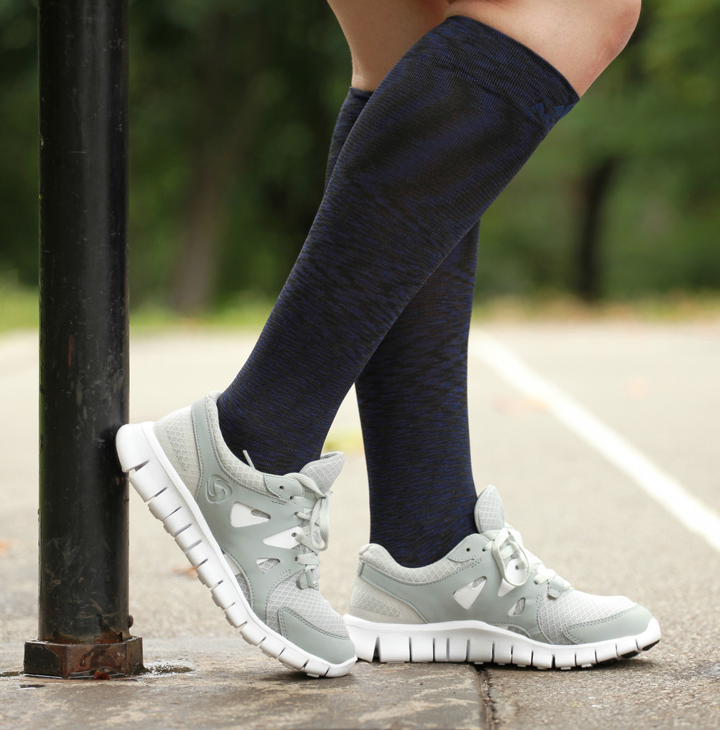 Mojo Sport Space Dyed Navy Over-The-Calf Compression Socks