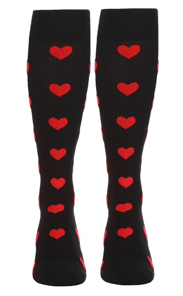 M906BH, Firm Support (20-30mmHg) Black Heart Knee High Compression Socks, Front View