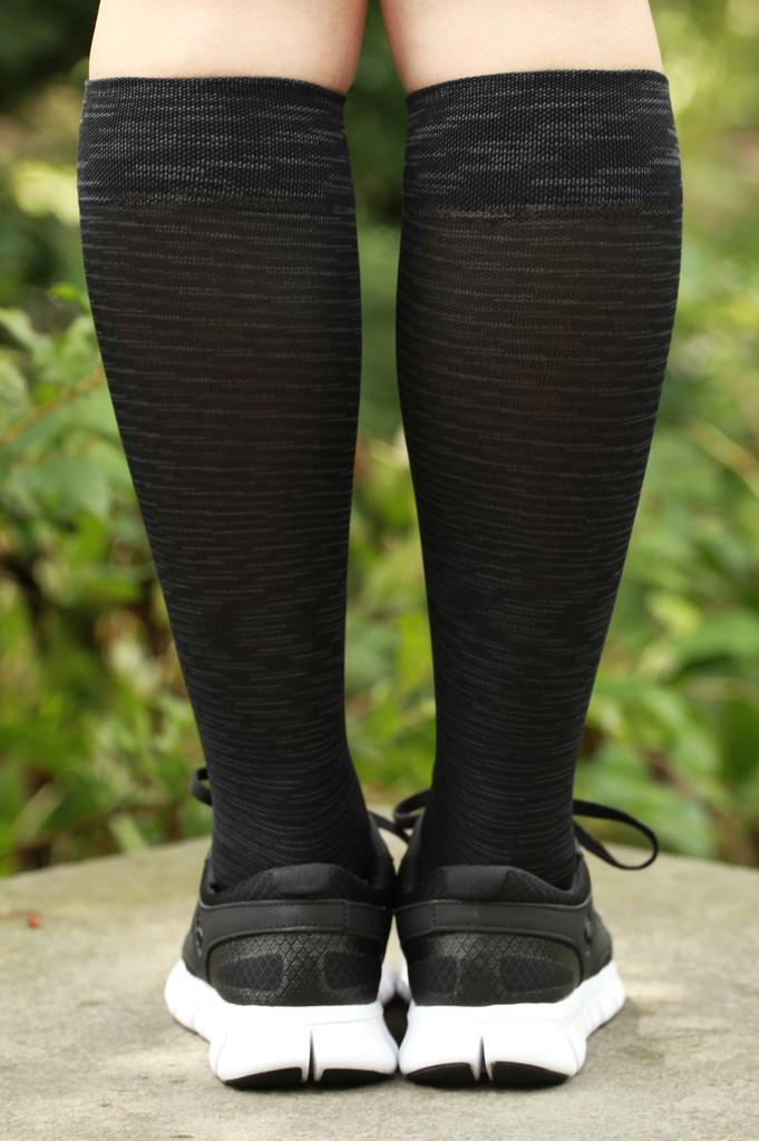 M812BL, Firm Support (20-30mmHg) Black Knee High Compression Socks, Back View