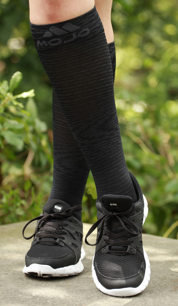 M812BL, Firm Support (20-30mmHg) Black Knee High Compression Socks, Front View