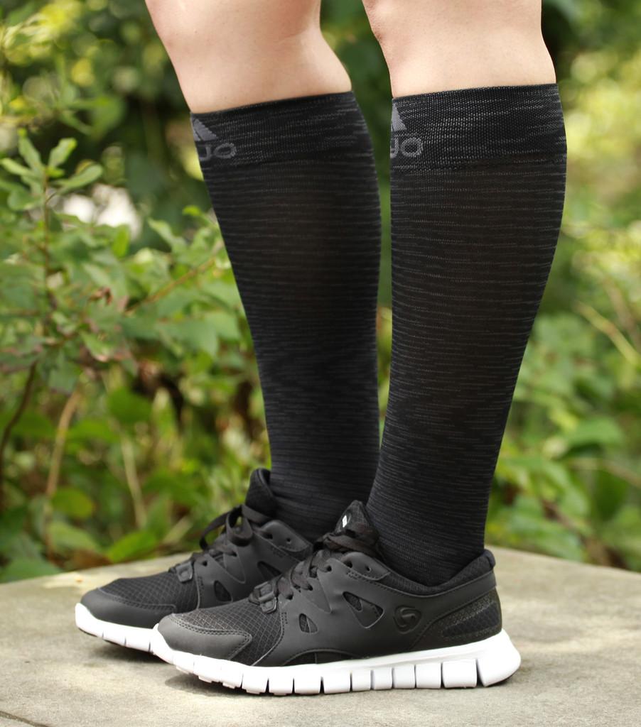 M812BL, Firm Support (20-30mmHg) Black Knee High Compression Socks, Rear View