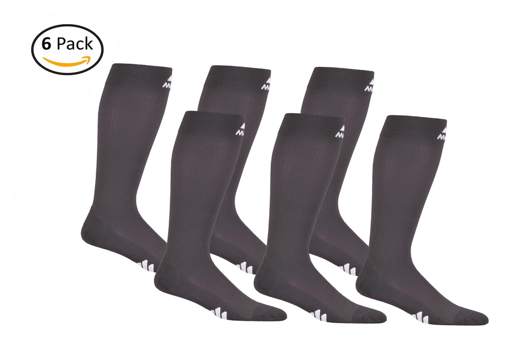 M809CG_6, Firm Support (20-30mmHg) Carbon Gray Knee High Compression Socks, Front View
