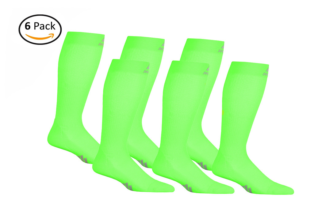 M809AG_6, Firm Support (20-30mmHg)  Action Green Knee High Compression Socks, Front View