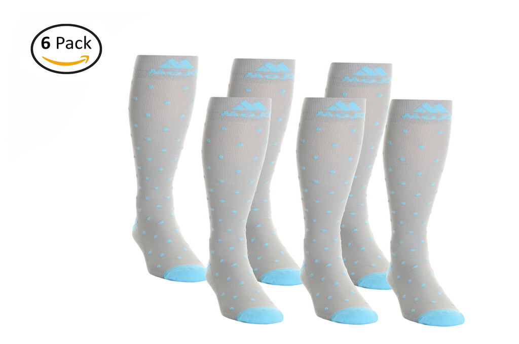 M816GD_6, Firm Support (20-30mmHg) Grey Blue Dot Knee High Compression Socks, Front View