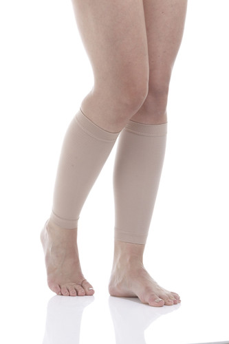 Calf Compression Running Sleeves  - Medium Support (15-20mmHg) Beige