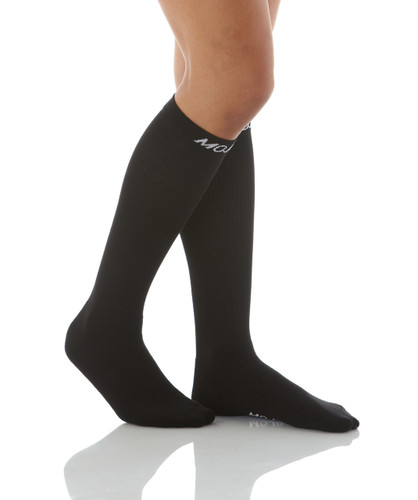 Knee-High Athletic Compression Socks -- Medium Support (15-20mmHg ) Black