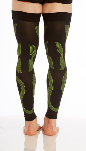 A609BG, Firm Support (20-30mmHg) Black Green Knee High Compression Socks, Back View