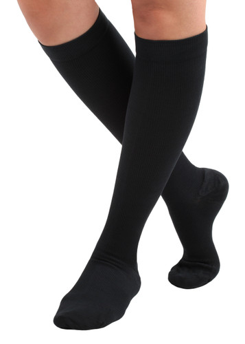 Unisex Cotton Compression Socks Firm Support (20-30mmHg ) Black