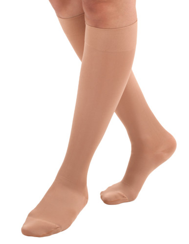 Mojo Compression Socks™ Unisex Microfiber Opaque Compression Sock Firm Support (20-30mmHg) Light Beige