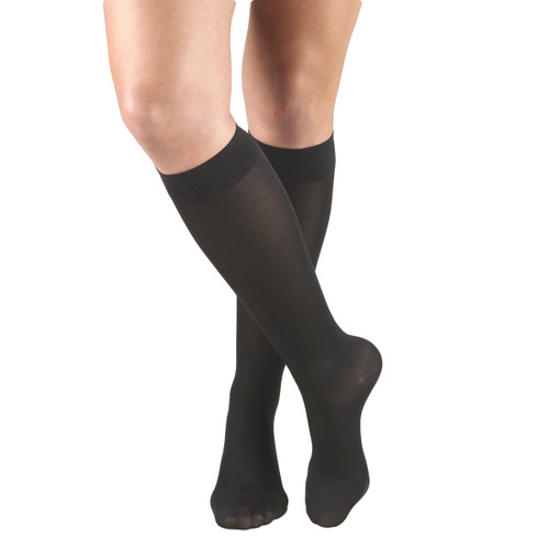 Mojo Compression Socks™ Mojo Basics - Unisex Microfiber Compression Socks -- Medium Support (15-20mmHg) Black
