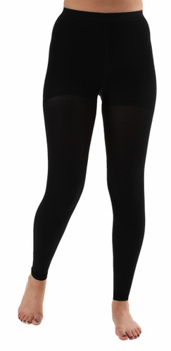 Graduated Opaque Compression Leggings Black