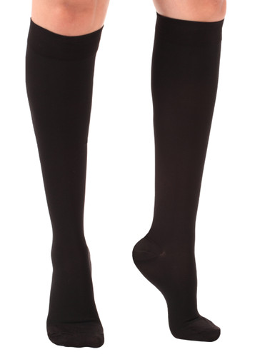 Opaque Compression Knee High Socks Closed Toe Black
