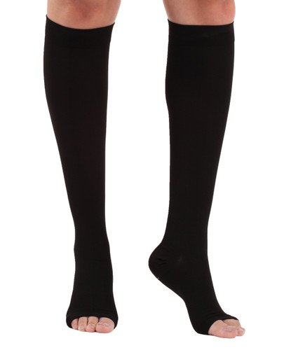 Opaque Compression Knee HIgh Open-Toe Socks Black