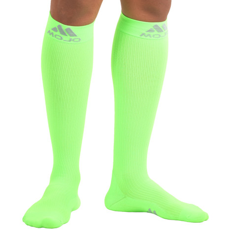 M809AG, Firm Support (20-30mmHg) Action Green Knee High Compression Socks, Front View