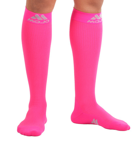 Elite Coolmax Recovery Compression Socks - Hot Pink